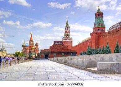 MOSCOW, RUSSIA - July 08.2015: Mausoleum of Lenin, Kremlin and Saint Basil's Cathedral on the Red Square in the historical center of city