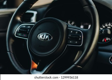 MOSCOW, RUSSIA - JULY 1, 2017 KIA SPORTAGE CRDI Fourth generation - a compact crossover SUV interior view. Test of new Kia Sportage. This car is AWD compact crossover SUV. 2.0