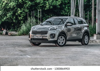MOSCOW, RUSSIA - JULY 1, 2017 KIA SPORTAGE CRDI Fourth generation - a compact crossover SUV front-side view. Test of new Kia Sportage. This car is AWD compact crossover SUV. 2.0