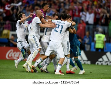 Moscow, Russia - July 1, 2018. Russian national team celebrating qualification to World Cup 2018 quarterfinals after penalty shootout in match against Spain.