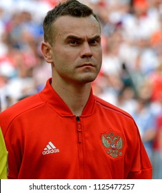 Moscow, Russia - July 1, 2018. Russian national football team goalkeeper Igor Akinfeev before FIFA World Cup 2018 Round of 16 match Spain vs Russia. He was announced the man of the match.