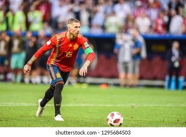 Moscow, Russia - July 1, 2018. Spain national football team captain Sergio Ramos performing a penalty kick during penalty shootout in FIFA World Cup 2018 Round of 16 match Spain vs Russia.