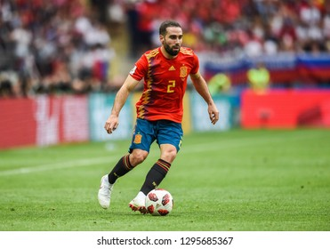 Moscow, Russia - July 1, 2018. Spain national football team defender Dani Carvajal during FIFA World Cup 2018 Round of 16 match Spain vs Russia.