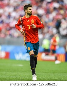 Moscow, Russia - July 1, 2018. Spain national football team defender Gerard Pique during FIFA World Cup 2018 Round of 16 match Spain vs Russia.