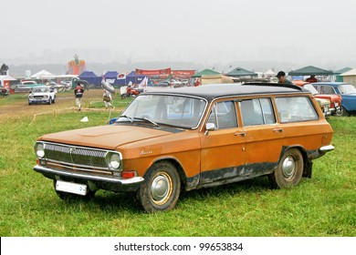 "MOSCOW, RUSSIA - JULY 10: Soviet motor car GAZ-2402 ""Volga"" exhibited at the annual International Motor show ""Autoexotica"" on July 10, 2011 in Moscow, Russia."