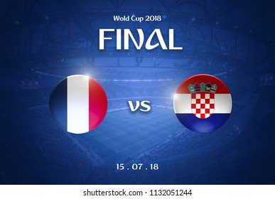 Moscow, Russia - July 11, 2018 : soccer world cup 2018. Final France vs Croatia. Football champion team