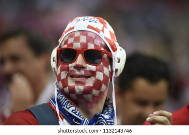 MOSCOW, RUSSIA - July 11, 2018: Croatia's fans celebrating during the FIFA 2018 World Cup in the semi finals football match between England and Croatia at Luzhniki Stadium.
