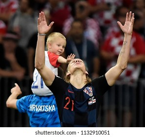 MOSCOW, RUSSIA - July 11, 2018:  FIFA 2018 World Cup in the semi finals football match between England and Croatia at Luzhniki Stadium.