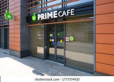 Moscow, Russia - July 11, 2020: Cafe Prime chain. A new format of fast food cafe with a menu of natural products prepared according to gastronomic recipes without the use of preservatives.