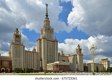 MOSCOW, RUSSIA - JULY 12, 2017: Main building of Lomonosov Moscow State University. Central tower is 240 m tall, 36 stories high. It was built in 1953