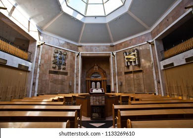 Moscow / Russia - July 12, 2018: the memorial synagogue on the holy mountain, portrayed in memory of the victims of the Holocaust, is deserted on ordinary days. The Holy of Holies