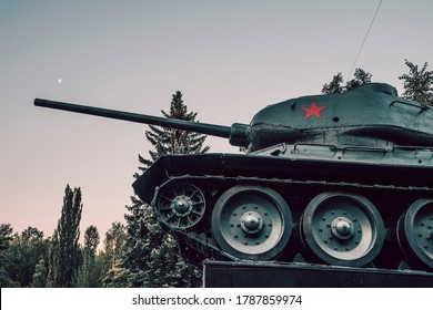 MOSCOW, RUSSIA - JULY 12,2020: Legendary Soviet tank T-34 from WWII