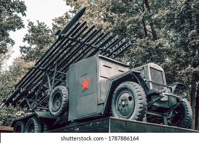 "MOSCOW, RUSSIA - JULY 12,2020: The legendary Soviet barrelless system of field rocket artillery ""Katyusha"". Designed and built during World War II"