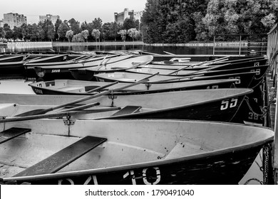 MOSCOW, RUSSIA - JULY 12,2020: A lot of Sava boats moored to the bank of a round pond in Izmailovsky Park