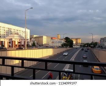 MOSCOW, RUSSIA - JULY 14, 2018: View of Gogolevsky boulevard with Arbatskaya metro station