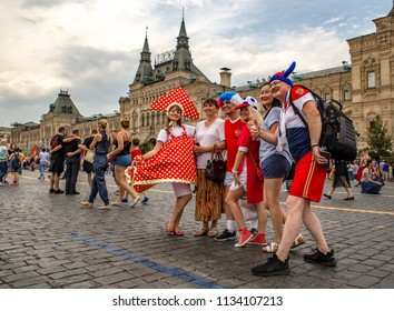 Moscow, Russia - July 14, 2018: Fans of the World Cup of 2018 at Red Square in Moscow