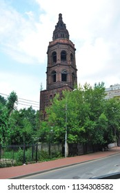 Moscow, Russia - July 14, 2018 - Bell Tower of the abandoned St Nicholas' Church in Novaya Sloboda in Moscow