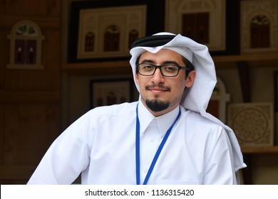 Moscow, Russia - July 14, 2018: Qatari man in traditional clothes looks at the camera