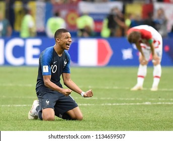 MOSCOW, RUSSIA - July 15, 2018: MBAPPE of France celebrates after scoring a goal during the FIFA 2018 World Cup in the finals football match between France and Croatia at Luzhniki Stadium.