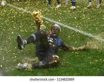 MOSCOW, RUSSIA - July 15, 2018: France celebrates after winning the FIFA 2018 World Cup in Russia against Croatia at Luzhniki Stadium.
