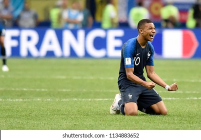 MOSCOW, RUSSIA - July 15, 2018: FIFA 2018 finals between France and Croatia at the Luzhniki stadium. Player MBAPPE