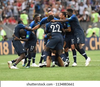MOSCOW, RUSSIA - July 15, 2018: FIFA 2018 finals between France and Croatia at the Luzhniki stadium.