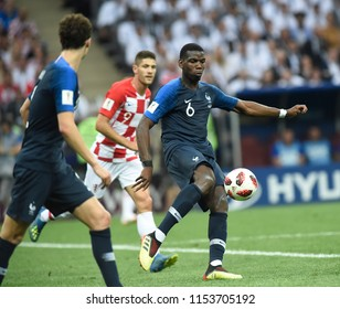 Moscow  RUSSIA - July 15, 2018: Pogba of France kicks the ball during the FIFA 2018 World Cup in the  finals football match between France  and Croatia at Luzhniki Stadium