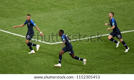 524b9a36c French striker Kylian Mbappe celebrating his goal with Blaise Matuidi and  Lucas Hernandez during 2018 FIFA World Cup Final match between France and  Croatia.