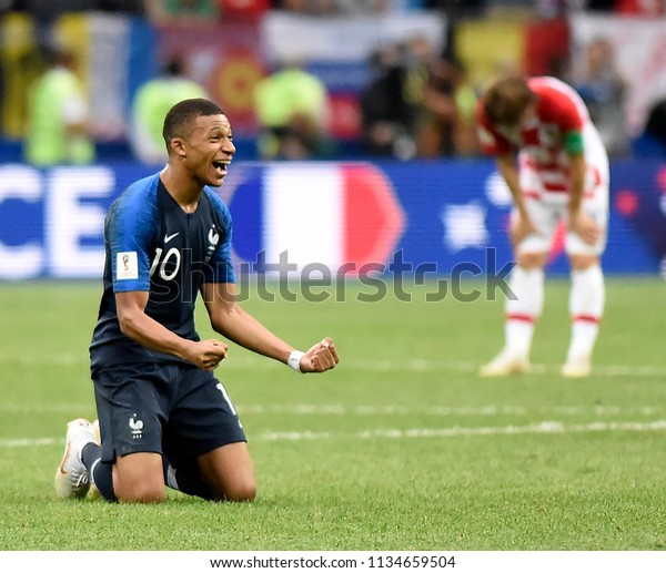 MOSCOW, RUSSIA - July 15, 2018: M BAPPE of France celebrates after scoring a goal during the FIFA 2018 World Cup in the finals football match between France and Croatia at Luzhniki Stadium.