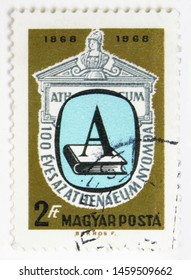 MOSCOW, RUSSIA - JULY 15, 2019: Postage stamp printed in Hungary devoted to Centenary of Athenaeum Press, Budapest, serie, circa 1969