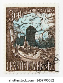 MOSCOW, RUSSIA - JULY 15, 2019: Postage stamp printed in Czechoslovakia shows Cave, Moravian karst, Moravian Karst and Slovak Paradise serie, circa 1963