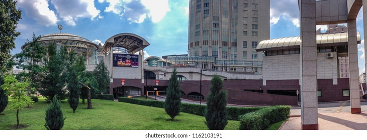 MOSCOW, RUSSIA - JULY 16, 2018: Panoramic view to the building of Moscow International House of Music with treble clef on its roof in Moscow on July 16, 2018.
