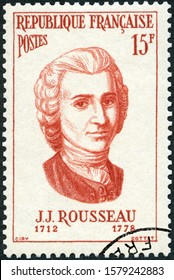 MOSCOW, RUSSIA - JULY 16, 2019: A stamp printed in France shows Jean Jacques Rousseau (1712-1778),  philosopher, writer and composer, Portraits, 1956