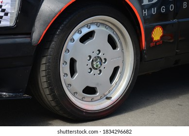 MOSCOW, RUSSIA - JULY 17, 2014: W201 Mercedes-Benz 190E old German famous racing car AMG wheel