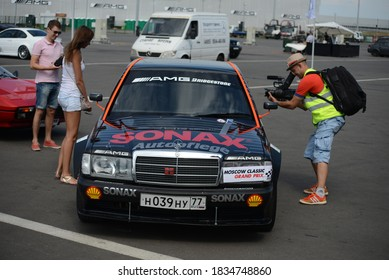 MOSCOW, RUSSIA - JULY 17, 2014: W201 Mercedes-Benz 190E old German famous racing car