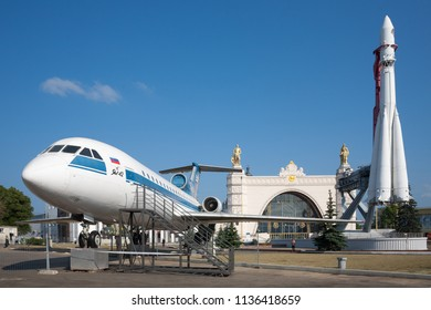 MOSCOW, RUSSIA - JULY 17, 2018: Yak-42 passenger jet, Vostok rocket and Space pavilion in VDNKh. VDNKh is permanent general purpose trade show and amusement park.