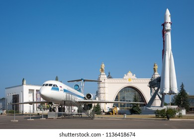 MOSCOW, RUSSIA - JULY 17, 2018: Yak-42 passenger jet, Vostok rocket and Space pavilion in VDNKh. VDNKh is a permanent general purpose trade show and amusement park.