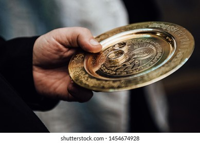 Moscow, Russia - July 17, 2019: Platter for wedding rings in Pope's hand in the Church of the Savior of the Holy Face on Setun on July 17, 2019 in Moscow, Russia