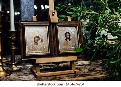 Moscow, Russia - July 17, 2019: The icon of the Virgin and Christ stands in the Church of the Savior of the Holy Face on Setun on July 17, 2019 in Moscow, Russia