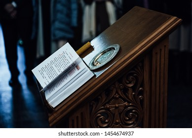 Moscow, Russia - July 17, 2019: The Bible lays on a lectern in the Church of the Savior of the Holy Face on Setun on July 17, 2019 in Moscow, Russia