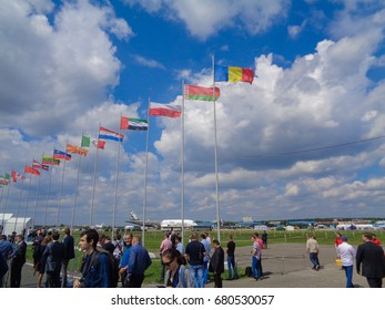 MOSCOW, RUSSIA - JULY 18 2017: MAKS 2017. International Aviation and Space Show (Salon). Largest aviation salon in Eastern Europe. Exhibition of aircrafts, helicopters and other major equipment