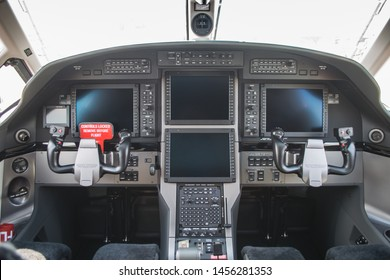 Moscow, Russia - July 19 2017 : empty cockpit of  Pilatus aircraft PC-12. The steering wheels in the cockpit Pilatus U-28A.