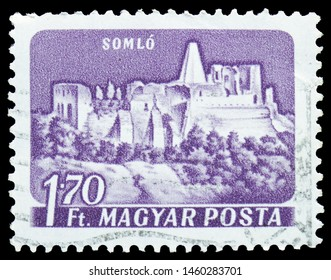 MOSCOW, RUSSIA - JULY 19, 2019: Postage stamp printed in Hungary shows Somlyo (Somlo), Castles serie, circa 1960