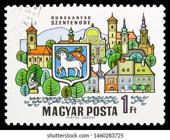 MOSCOW, RUSSIA - JULY 19, 2019: Postage stamp printed in Hungary shows Szentendre, Cities of the Dunakanyar serie, circa 1969