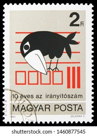 MOSCOW, RUSSIA - JULY 19, 2019: Postage stamp printed in Hungary devoted to 10th Anniversary of Postal Code, Anniversary serie, circa 1983