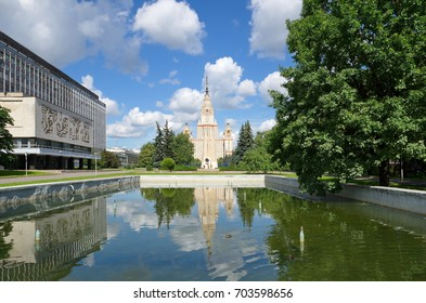 Moscow, Russia - July 20, 2017: Main building of Lomonosov Moscow State University (MSU) and the monument to the students and staff of MSU, who fell in the great Patriotic war