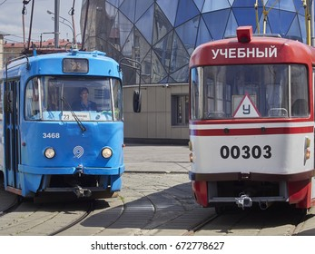 Moscow, Russia, July 2017, The Educational tram follows its route in the vicinity of Sokol metro station in Moscow. A summer day in the city. Editorial only