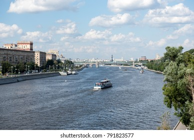Moscow / Russia - July 2017: A ferry boat in Moskow river