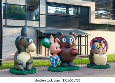 Moscow, Russia - July 2019: Cartoon heroes from famous cartoon Winnie the Pooh in front of Soyuzmultfilm movie studio.