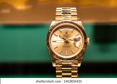 Moscow, Russia - July 2019: Expensive Presentable Wrist Watches Rolex. Luxury Store Rolex In Moscow.